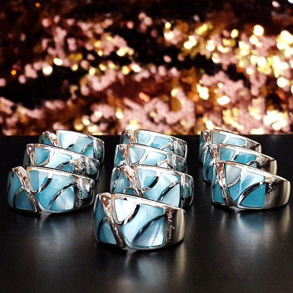 ART DECO silverring med skimrande pärlemor (Truly Me)