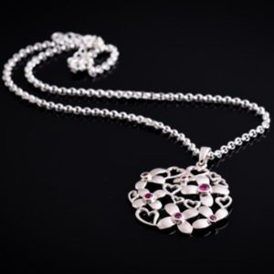 DAISY silver necklace with hearts and flowers (Truly Me)