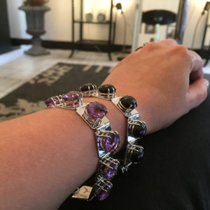 DEEP BLACK & PURPLE silver bracelets by Truly Me Jewelry Design