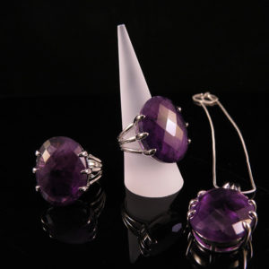 DEEP PURPLE silver ring with large amethyst (Truly Me)