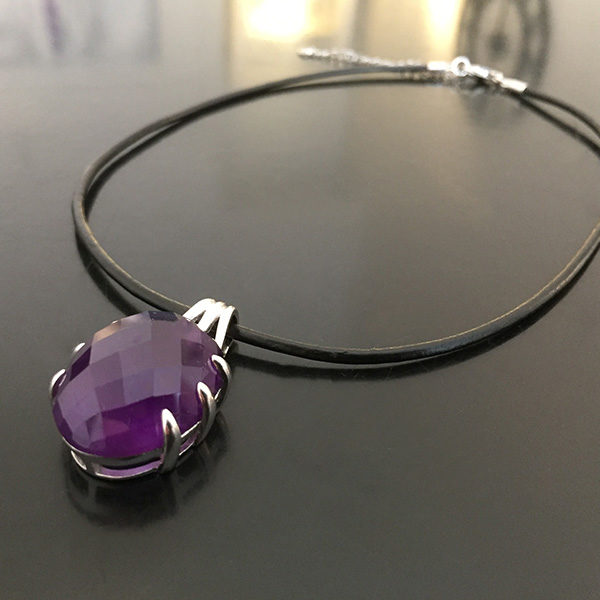DEEP PURPLE silver necklace with large amethyst (Truly Me)
