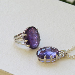 DEEP PURPLE silver jewelry with large amethyst (Truly Me)