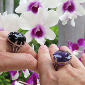 DEEP PURPLE & BLACK cocktail silver ring by Truly Me Jewelry Design