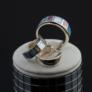 DREAM silver ring with blue and purple mother of pearl (Truly Me)
