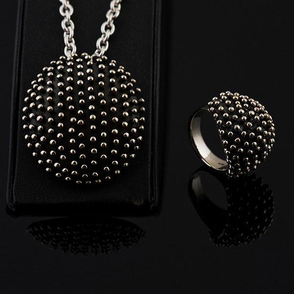 HEDGEHOG silver jewelry set design like a hedgehog (Truly Me)