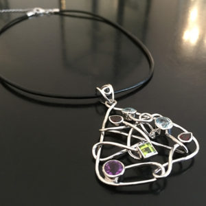 LETS GO CRAZY silver necklace with colorful stones (Truly Me)