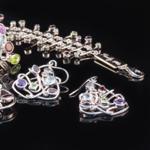 Colorful silver jewelry set with crazy creative design (by Truly Me)