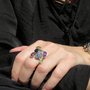 LETS GO CRAZY silver ring with colorful stones