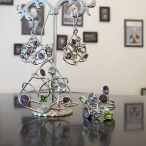 LETS GO CRAZY silver jewelry set with colorful stones