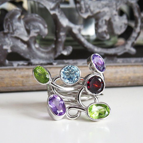 LETS GO CRAZY silver ring with colorful stones (Truly Me)