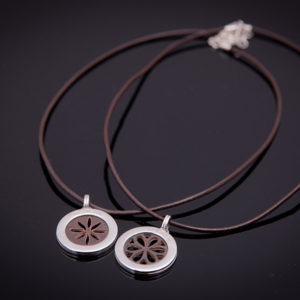 PENNY LANE silver necklace with brown leather (Truly Me)