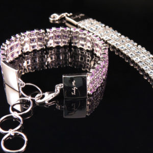 RIBBON elegant silver bracelet with many stones