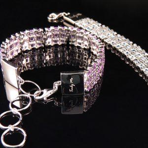 RIBBON elegant silverarmband med många infattade stenar (Truly Me)