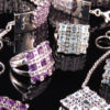 RIBBON silver jewelry set with topaz, amethyst or spinel