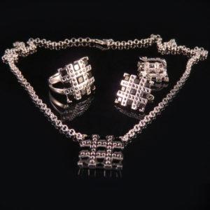 RIBBON silver jewelry set with black spinel