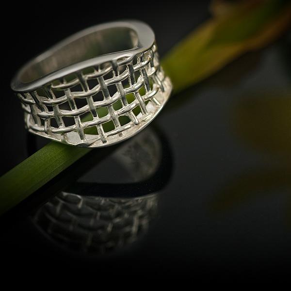 SILVER CANVAS silverring med flätad silvertråd (Truly Me)