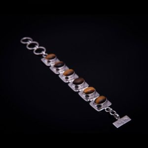 TIGER silver bracelet with tiger eye stones