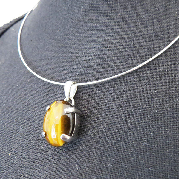 TIGER silver necklace with tiger eye stones (Truly Me)