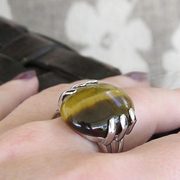 TIGER silverring med stenen tigeröga (Truly Me)