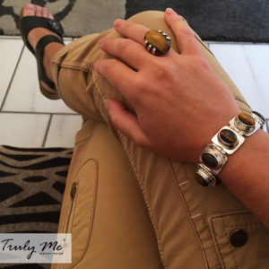 TIGER silver bracelet with tiger eye stones (Truly Me)