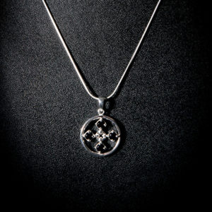 TOUCH silver necklace with black cz stones