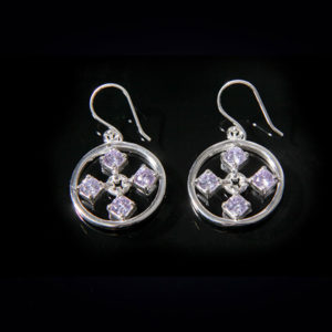 TOUCH stylish silver earrings in white cz stones