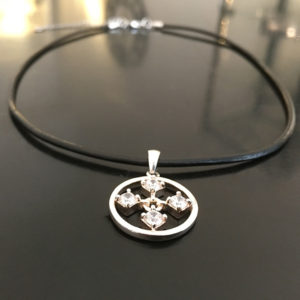 TOUCH silver necklace with leather strap chain