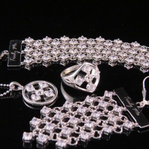 TOUCH silver set jewelry in white cz stones
