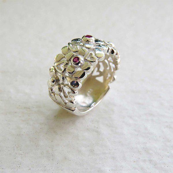 DAISY silverring med hjärtan och blommor (Truly Me)