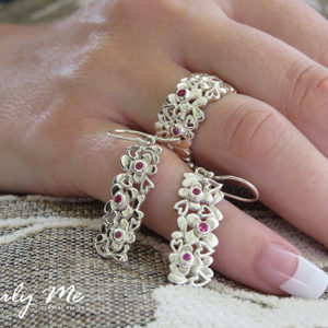 DAISY silver ring with hearts and flowers