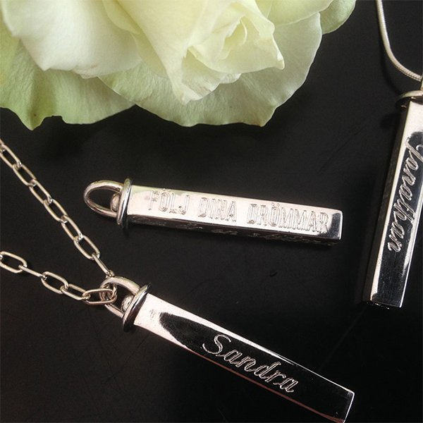 Name necklace - Truly Me silver rod (engraving)