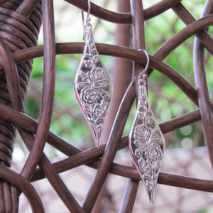 THE ROSE Silver Earrings With Patterns of Roses (Truly Me Jewelry Design)