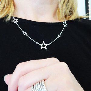 SKY silverhalsband med stjärnor (Truly Me)