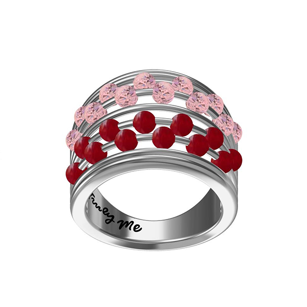 Abacus silverring med rosa och röda stenar